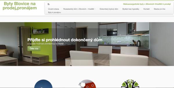 Webová stránka na podporu prodeje bytů