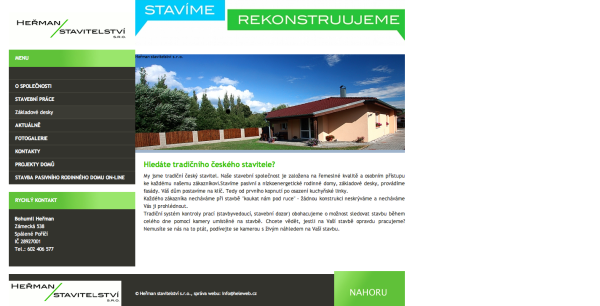 Webová stránka stavební společnosti