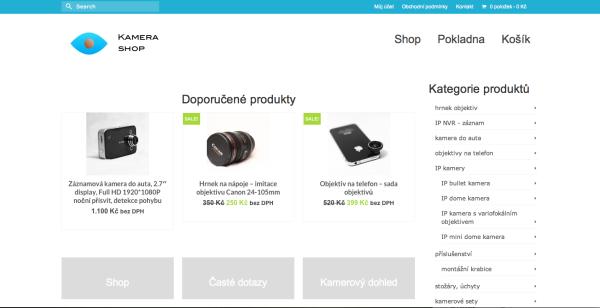 Webová stránka E-shopu